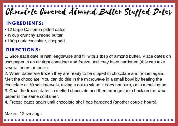 Chocolate Almond Butter Stuffed Dates