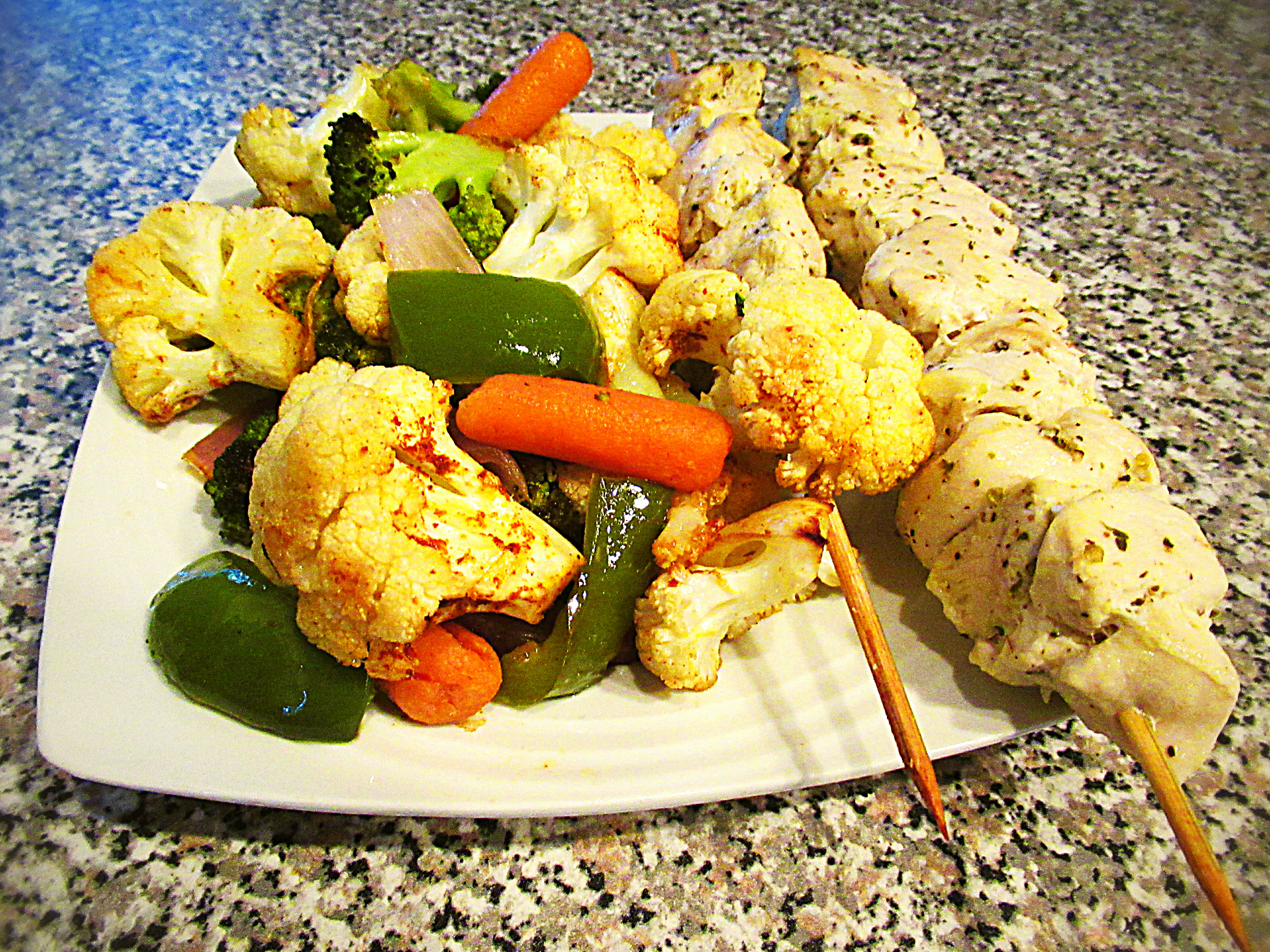 Chicken Souvlaki and Roasted Vegetables
